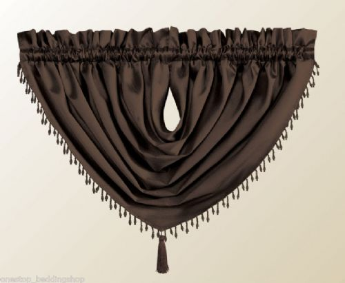 DESIGNER CURTAIN SWAG FAUX SILK BEADED TASSEL CHOCOLATE BROWN COLOUR